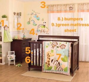 Carters Crib Bedding Jungle Set with Accessories