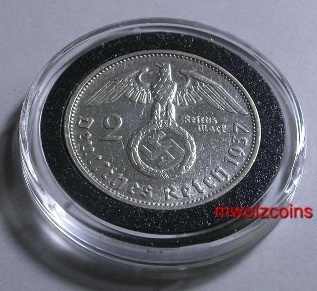 WWII German 1937 2 Reichsmark  Silver  Third Reich WAR Time, Coin  WW2