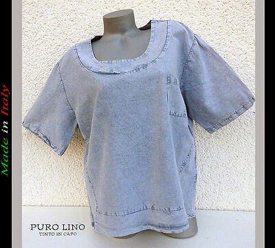 ika Shirt Überwurf Blau Stone washed XXL passt bei 42-44-46 (Xxl Passt)