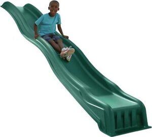 Kids Wave Slide Backyard Playset Garden Playground Equipment Green Outdoor Play