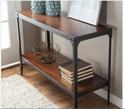 Industrial Console Table Wooden Metal Entryway Accent Sofa Hall Foyer Living Rm  ()