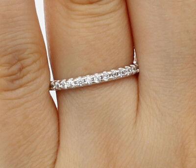 14K Real White Gold Round Cut Pave Set Bridal Wedding Anniversary Ring Band