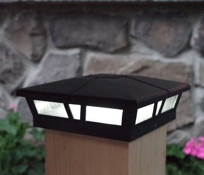 Cambridge Solar Post Caps 6x6 LED Fence Deck Lights Cast Aluminum 12 Pack 6' Aluminum Light Post