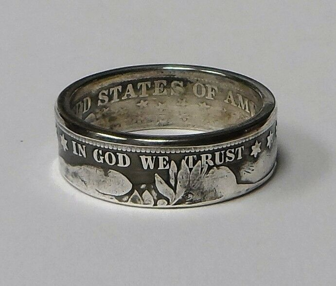"""Coin ring """"Handmade"""" from U.S.  BARBER Silver  US  Half Dollar   in size 6-14"""