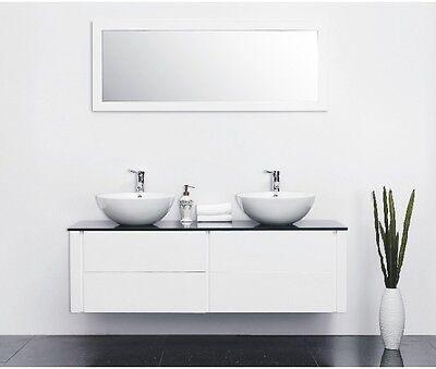 Modernes Doppel Waschtisch Kimia hochglanz Aufsatzwaschbecken Armaturen Badmöbel