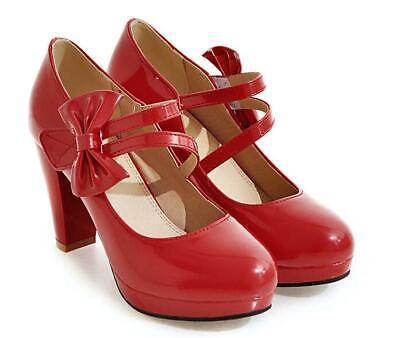 appe Mary Janes Schuhe mit hohem Blockabsatz Bowknot Pumps 43  (Mary Janes Mit Absatz)