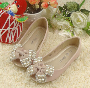 Stunning-Girls-Pink-Ballet-Formal-Or-Casual-Shoe-With-Bow-Pearls-Dimantes