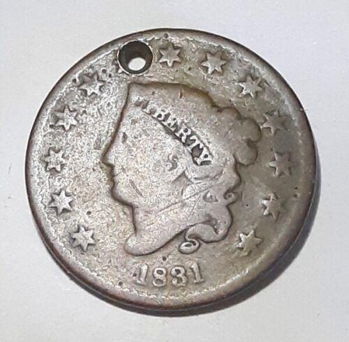 1831 Large Cent  Holed