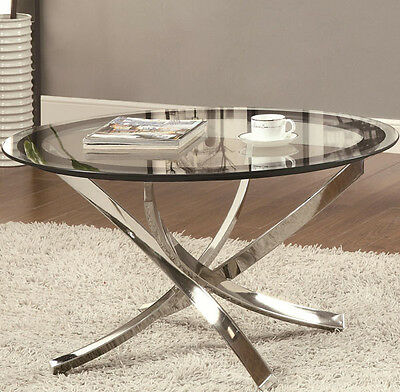 Glass Top Metal Finish - NEW RONAN CONTEMPORARY ROUND TEMPERED GLASS TOP CHROME FINISH METAL COFFEE TABLE