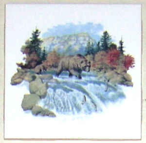 Bear Ceramic Tile Mountain Scenery Fired Fired Decor Ceramic Tile 4.25