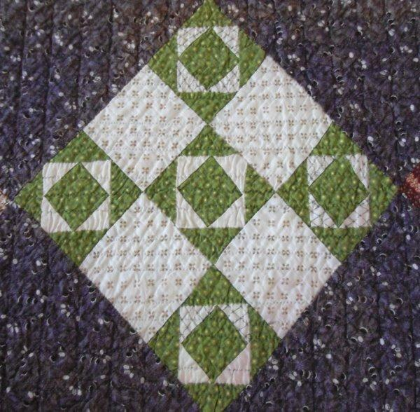 Antique Patchwork Quilt Signed 1885 Hand Stitched Red Green Print Full