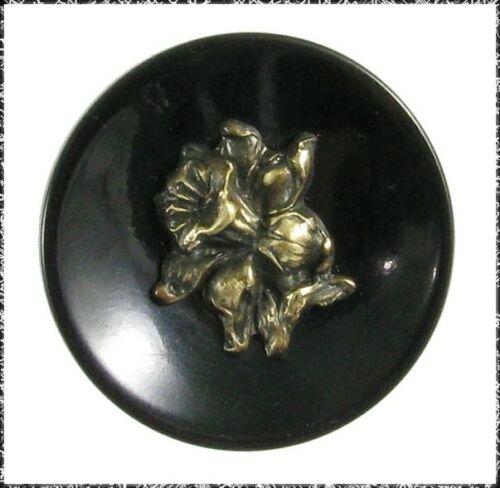 Medium Size Vintage Black Bakelite w/ Brass Daffodil Center