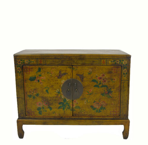 Small Vintage  Antique Yellow Chinese Cabinet