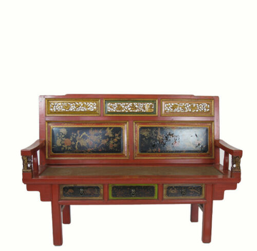 Antique Chinese Chinoiserie-Style Bench