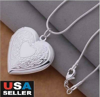 925 Sterling Silver Plated Snake Chain Necklace, Locket Heart Photo Pendant 18