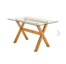 Brand new rectangular Oak Glass Dining Table