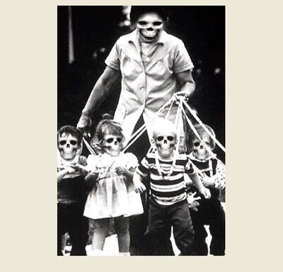 Vintage Creepy Zombies Children PHOTO Leashed Freak Scary Halloween Mask Weird](Photo Halloween Vintage)
