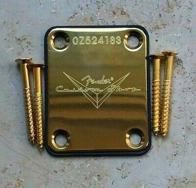 Fender Custom Shop Logo Chrome Neck Plate /& Screws U.K seller
