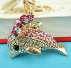 New-Dolphin-Fish-Butterfly-Wing-Charm-Rhinestone-Crystal-Purse-Keyring-KeyChain