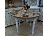 Shabby chic, solid farmhouse pine table, drop leaf sides, w 3 ft 6 inches