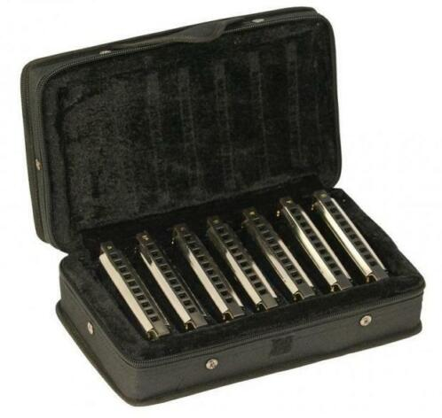 Set van 7 blues harmonica in luxe koffer / softcase