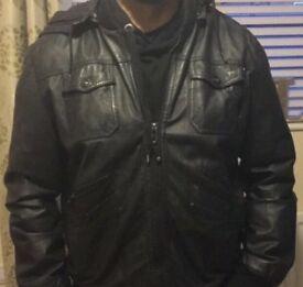 Men's leather hooded jacket