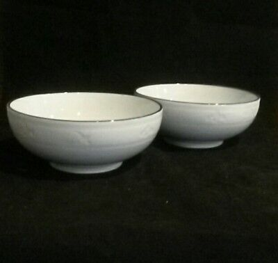 Pair Chinese Jinhua Light Turquoise Celadon Soup/Rice Bowls - Bird/Golden Flower Golden Rice Bowl