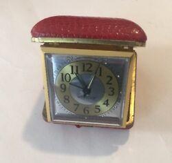 Vintage WESTCLOX Wind-Up Travel Alarm Clock RED CASE