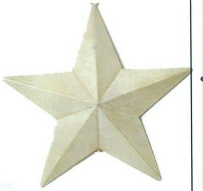 "5.5x5.5"" Rustic Primitive Country White Metal Barn STAR Sign Vintage Tin Decor"