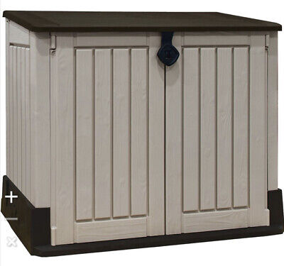 Keter Store-It Out Midi Outdoor Plastic Garden Storage Shed, Beige And Brown 85L