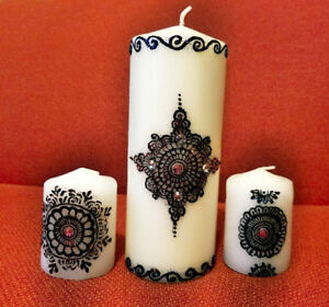 Elegant Custom made Henna Candles for diwali
