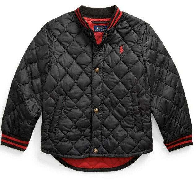 NWT Polo Ralph Lauren Toddler Water Resistant Quilted Baseball Jacket Black 3T