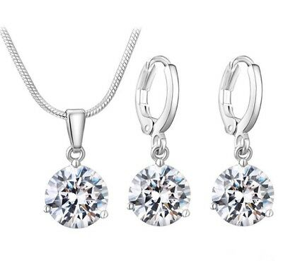 Damen Schmuck Set Halskette mit Anhänger und Ohrringe 925 Silber plattiert