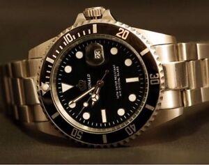 U.K. Black Reginald Quartz Stainless Steel Sports Divers Watch