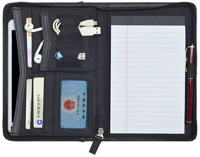 Mini Leather Zippered Padfolio Portfolio Binder 5 X 8 Legal Writing Pad Black