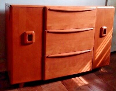 (Vintage 50's Heywood Wakefield Birch Buffet M192 Cabinet Credenza Wheat)