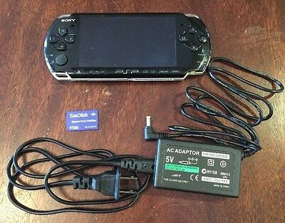 Ql  Sony Psp 3000 3001 System W  Charger   Memory Card Bundle Tested Works