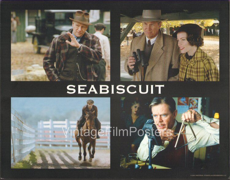 SEABISCUIT, 5 orig 2003 mint Lobby Cards, RACEHORSE, Jeff BRIDGES, Tobey MAGUIRE