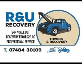 R & U RECOVERY SERVICE 24/7 any time any where start from £25