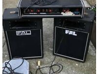 Vintage PA amplifier Raven Rebel and 2 FAL speakers working condition