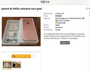 Fake iPhone 6 6s ads on Winnipeg Kijiji Scam