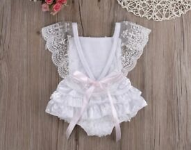 Baby Girls White Lace Romper