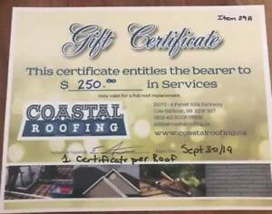 $250 Gift Certificate for Coastal Roofing