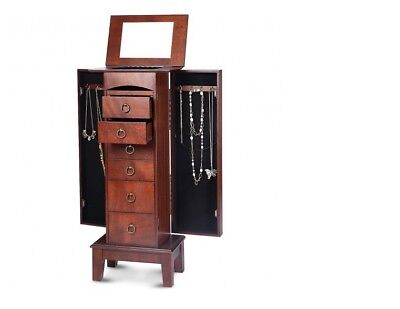 Wood Jewelry Cabinet Armoire Storage Box Chest Stand Organizer Christmas Gift - Chest Box