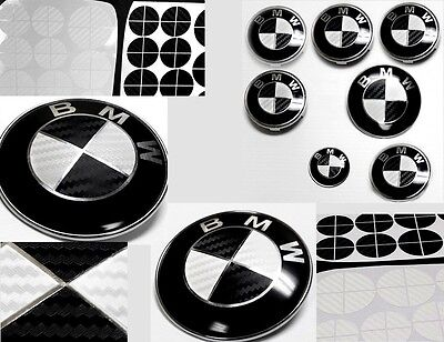 BLACK & WHITE CARBON FIBER Complete Set of Vinyl Sticker Overlay All BMW Emblems