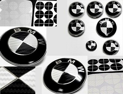 BLACK  WHITE CARBON FIBER Complete Set of Vinyl Sticker Overlay All BMW Emblems