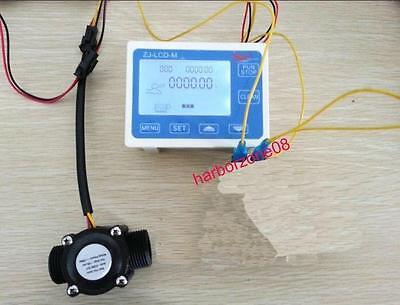"G1/2"" Flow Rate Water Sensor Meter+LCD Digital Display Control Total Litres Hall"