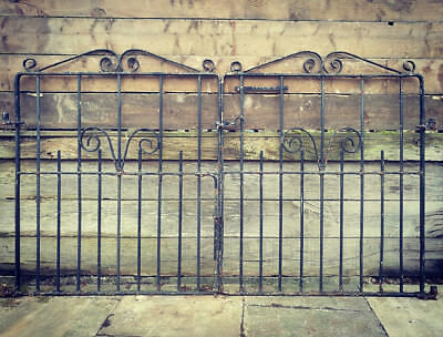 Reclaimed Double Gates Black Garden Driveway Gate Pretty Scroll Detail #G10