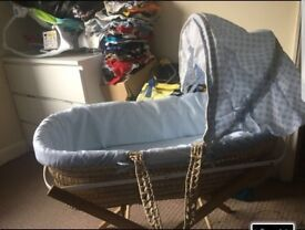 Boys Moses basket with stand