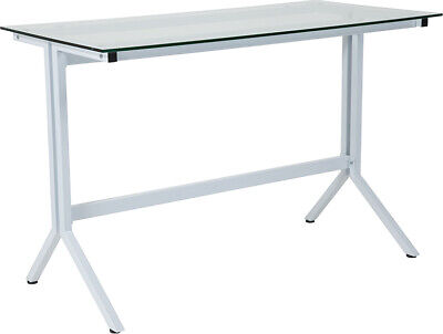 Modern Sleek Computer Desk With Tempered Clear Glass Top White Metal Frame
